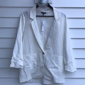 DREW oat colored linen blazer